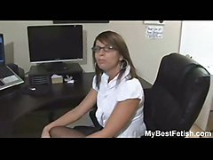 Big Tits Office Babe Give Footjob - Mybestfetish